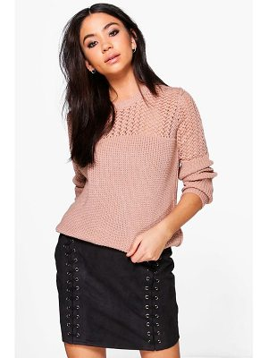 BOOHOO Layla Open Knit Crew Neck Jumper