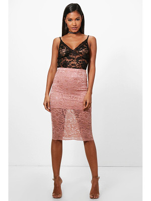 Boohoo Leah Basic Lace Midi Skirt