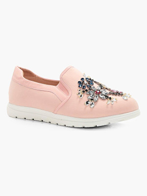 BOOHOO Leah Embellished Slip On Trainers