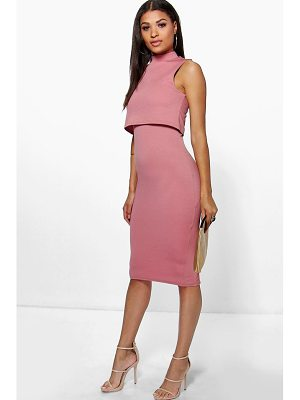 Boohoo High Neck Double Layer Midi Dress