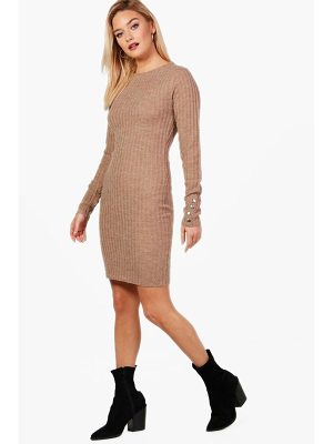Boohoo Leah Knitted Rib Midi Dress