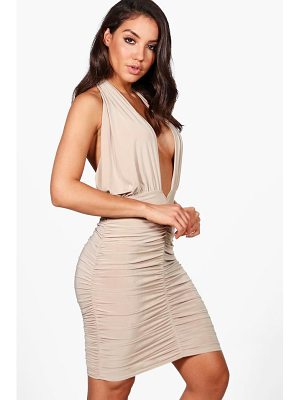 BOOHOO Leanne Slinky Twist Ruched Bodycon Dress