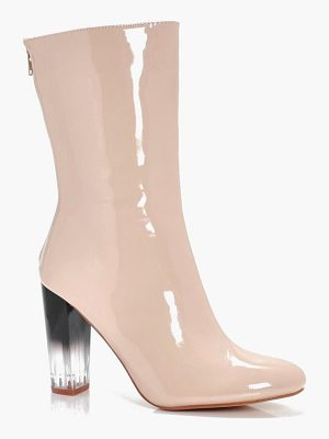 BOOHOO Lena Hi Shine Clear Heel Sock Boot