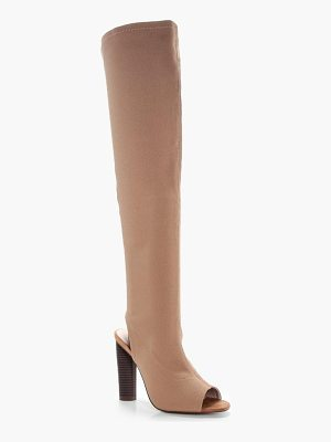 BOOHOO Libby Peeptoe Sock Thigh High Boots