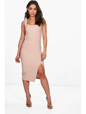 BOOHOO Lila Strappy Fitted Rib Midi Dress