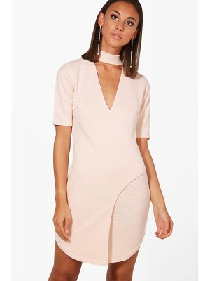 BOOHOO Lily Choker Ribbed Wrap Bodycon Dress