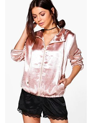 BOOHOO Lily Hooded Satin Bomber
