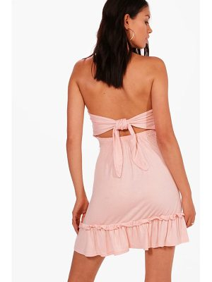 BOOHOO Lily Tie Back Drop Hem Off Shoulder Swing Dress
