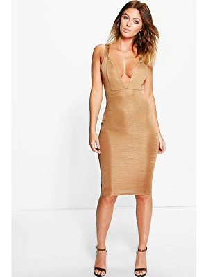 BOOHOO Lindsey Ribbed Plunge Neck Midi Dress