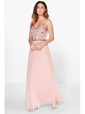 BOOHOO Lisa Boutique Embellished Prom Maxi Dress