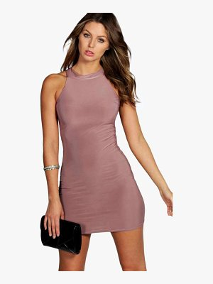 BOOHOO Lisa High Neck Slinky Mini Dress