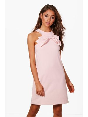 BOOHOO Lissy Bow Front Detail Shift Dress