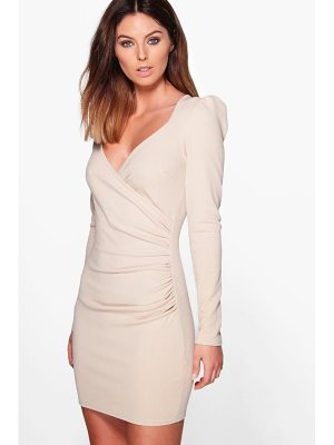 BOOHOO Liza Slinky Wrap Long Sleeve Bodycon Dress