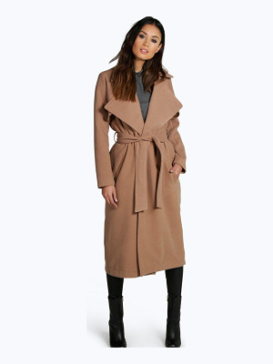 Boohoo Lois Longline Belted Wool Look Trench