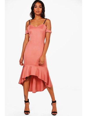 BOOHOO Lola Cold Shoulder Flute Hem Midi Dress