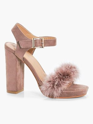 BOOHOO Lola Feather Trim Platform Heels