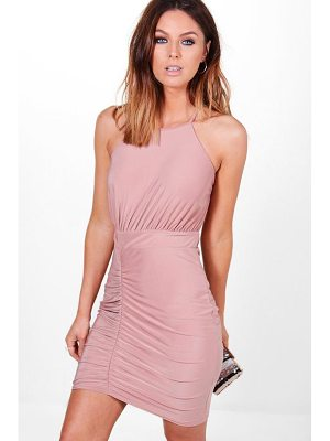 BOOHOO Lola Slinky Strappy Back Detail Bodycon Dress