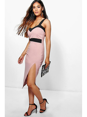 Boohoo Lola Sweetheart Contrast Midi Dress