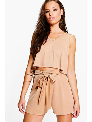 BOOHOO Lola V Neck Top + Tie Short Co-Ord