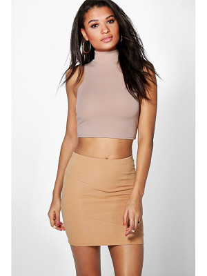 BOOHOO Lorelai Ribbed Panel Mini Skirt