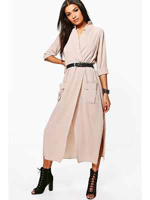 Boohoo Lorraine Long Sleeve Pocket Front Shirt Dress