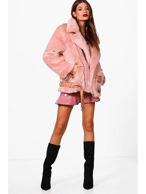 BOOHOO Lottie Boutique Oversized Faux Fur Aviator
