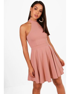 Boohoo Lottie High Neck Skater Dress