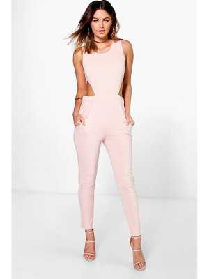 BOOHOO Lottie Side Cut Out Skinny Leg Jumpsuit