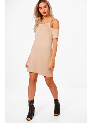 BOOHOO Louisa Basic Cold Shoulder Shift Dress