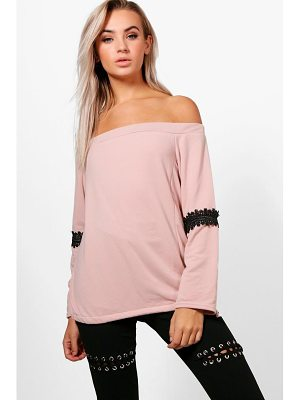 BOOHOO Louisa Off The Shoulder Lace Trim Sweat Top