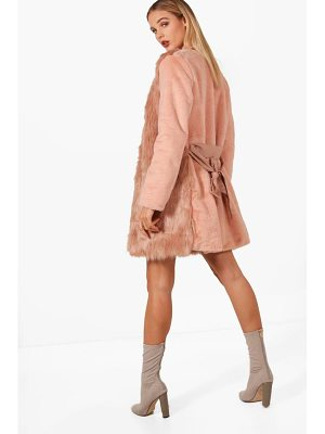 BOOHOO Louise Boutique Belted Faux Fur Mix Coat