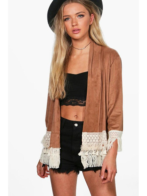Boohoo Louise Suedette Lace Trim Jacket