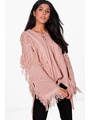 BOOHOO Lucy Boutique Lace Up Tassel Jumper