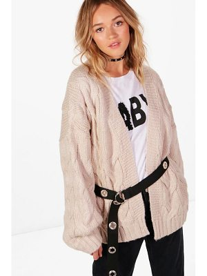 BOOHOO Lucy Cable Crop Soft Knit Cardigan