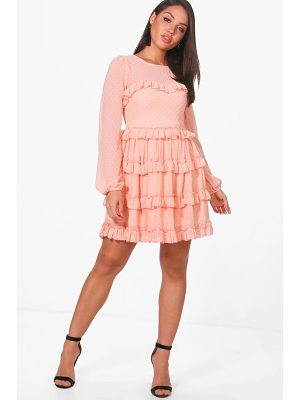 Boohoo Dobby Ruffle Skirt Skater Dress