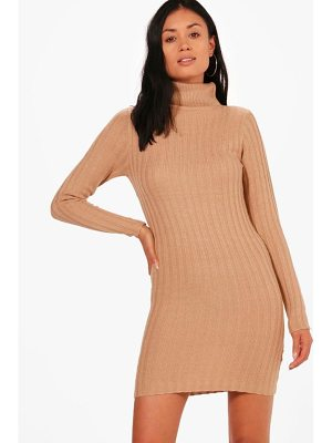 BOOHOO Lucy Longline Ribbed Roll Neck Tunic