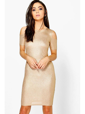BOOHOO Lucy Rib Cold Shoulder Dress