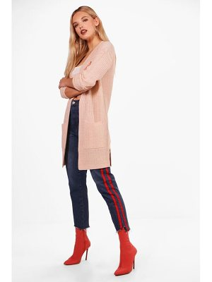 BOOHOO Lucy Ribbed Knitted Edge To Edge Cardigan
