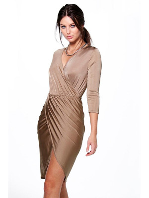 BOOHOO Lucy Slinky Wrap Over Bodycon Dress
