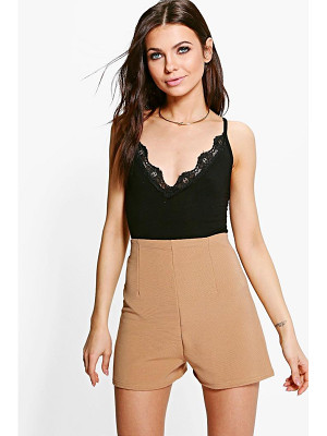 BOOHOO Laura Ribbed High Waist Hotpant