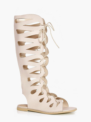 BOOHOO Lydia Ghillie Lace Up Gladiator Knee High Sandal