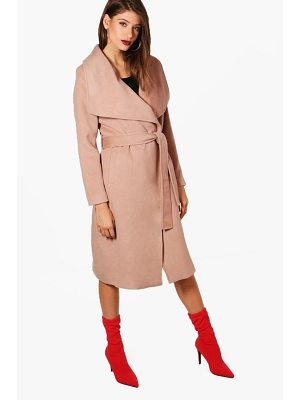 Boohoo Madeleine Maxi Belted Waterfall Coat