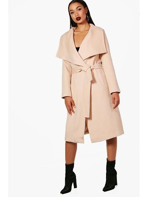 BOOHOO Madeleine Belted Waterfall Coat