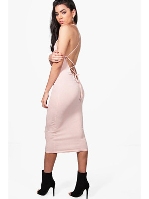 BOOHOO Madison Lace Up Back Strappy Midi Dress