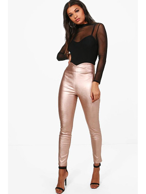 BOOHOO Madison Leather Look High Waist Skinny Trousers
