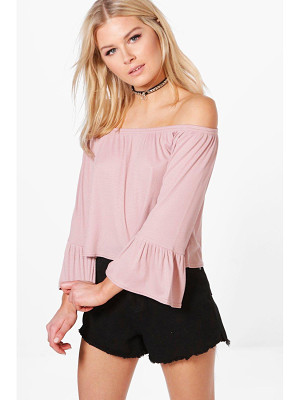 Boohoo Madison Off Shoulder Fitted Sleeve Top