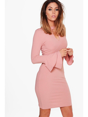 BOOHOO Madison Rib Keyhole Flute Sleeve Bodycon Dress