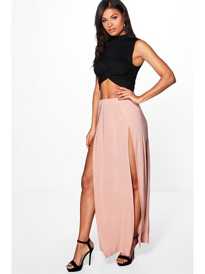 BOOHOO Mara Double Thigh High Split Maxi