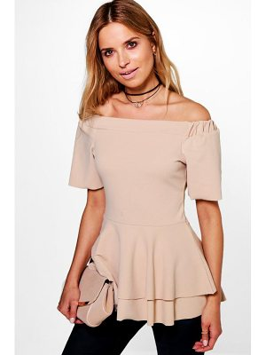 BOOHOO Maria Bardot Double Layer Peplum Top