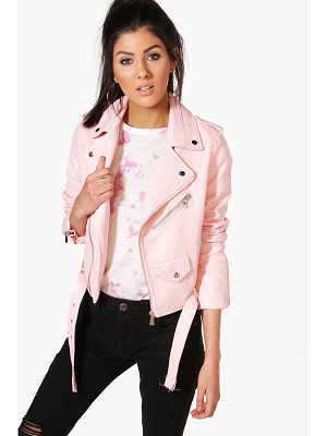 BOOHOO Maria Crop Leather Look Biker Jacket
